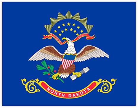 DECAL NORTH DAKOTA STATE FLAG 5 YR VINYL STICKER