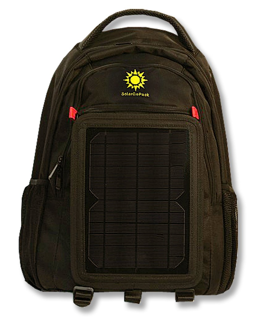 SolarGoPack solar powered backpack, charge mobile devices, Take Your Power with You, 12k mAh Lithium Ion Battery, 27 liter Ballistic Nylon Bag, Black - Stay Charged my Friends