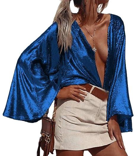 53a61b1daf HTOOHTOOH Women Bell Sleeve Sexy Metallic Open Front Cardigan Sequin Blouse  Tops Blue S