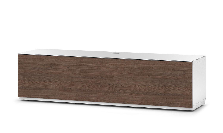 Sonorous STA 160F-WHT-TOR-BS stehende TV-Lowboard mit versteckten Rollen, weißer Korpus, obere Fläche, gehärtetem Weißglas und Klapptür in Holzdekor Tortona