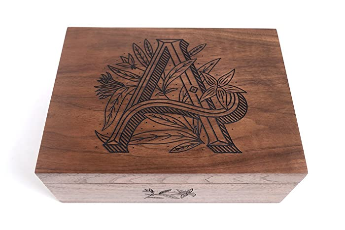Floral Monogram Laser Cut Wood Keepsake Box Wedding Gift Baby Shower Heirloom