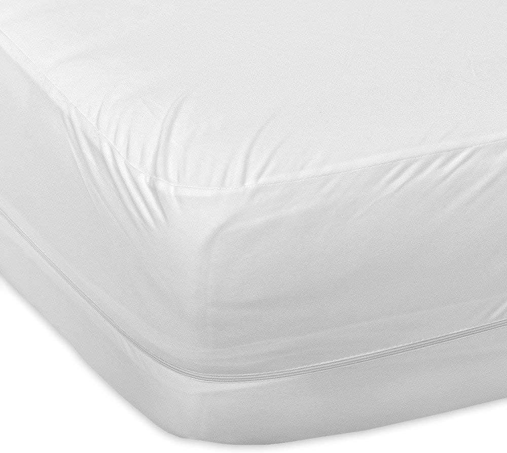 "Ras Decor Linen Premium Smooth Fabric Mattress Protector 30""X80"" Zippered Encasement 100% Waterproof - Hypoallergenic - Top Protection Only - Vinyl Free"