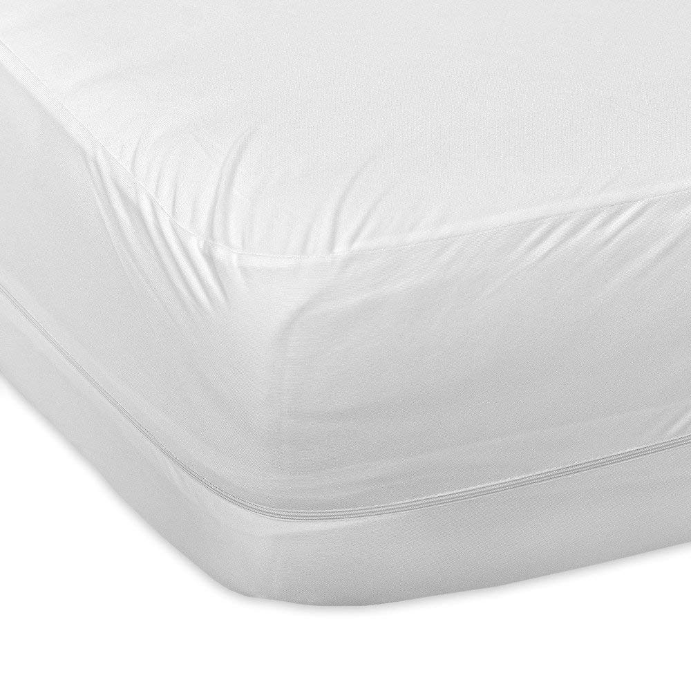 "Mattress Protector Encasement Style 100/% Waterproof Poly Cotton White Drop 27/"""