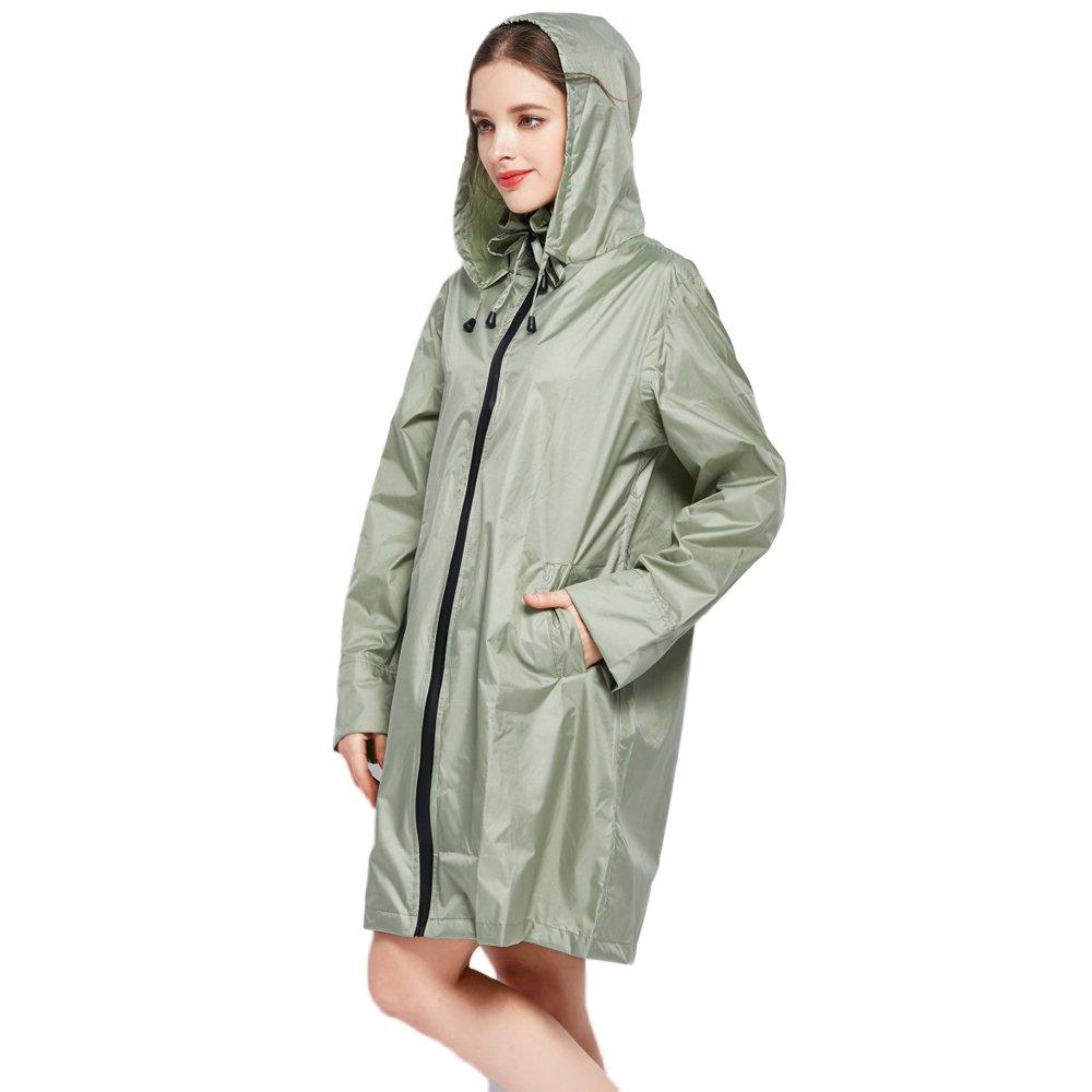 Secutey Green Long Coat Raincoat A Thin Dry Raincoat Portable Hiking Raincoat