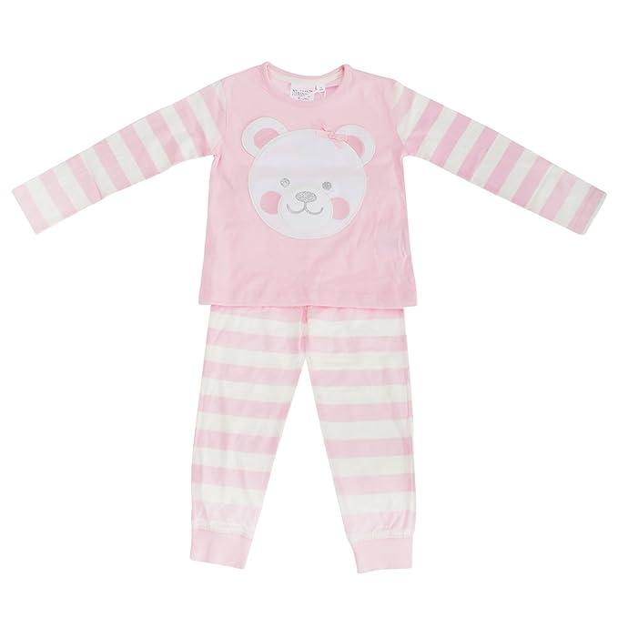 Pijama de manga larga y pantalón largo con detalle de osito para niñas (3-
