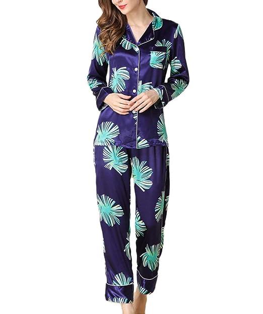 Mujer Batas Primavera Otoño Estampadas Conjunto De Pijama Manga Larga Chic Ropa Elegante V-Cuello Un Solo Pecho Ropa De Noche Moda Ropa De Dormir Pantalones ...