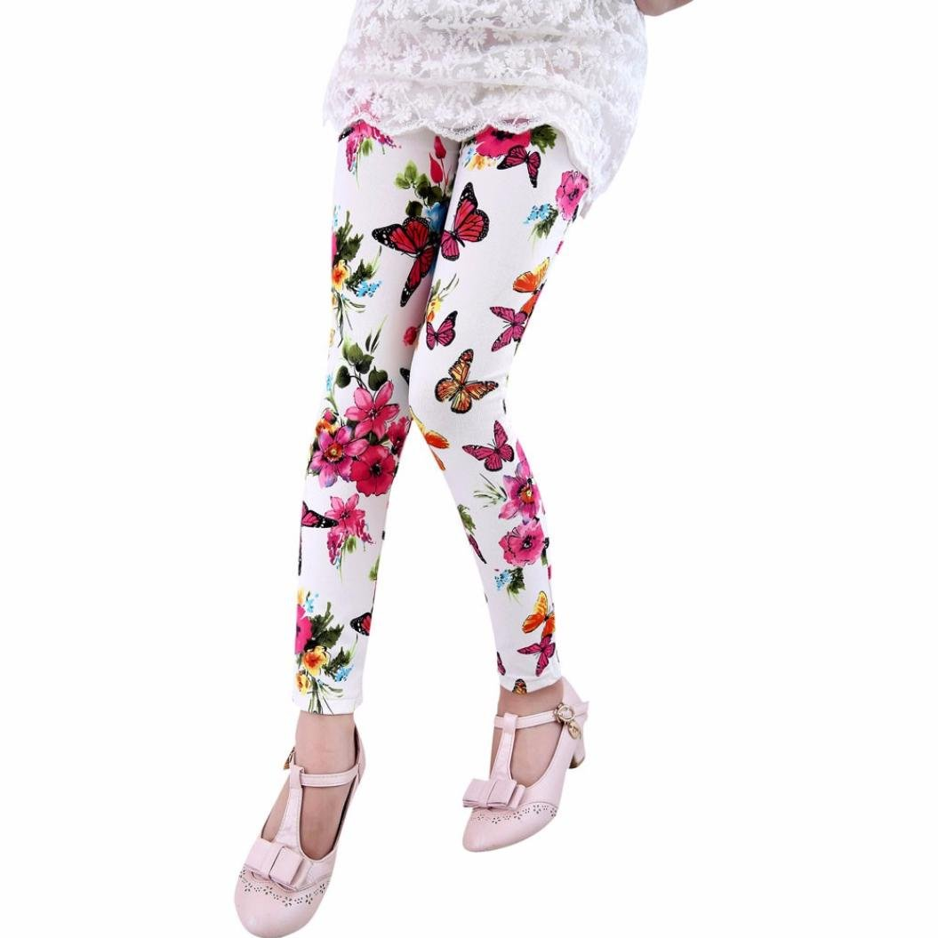 Kids Floral Print Great Stretchy Leggings for 1-7 T Fineser Toddler Little Girls Pants