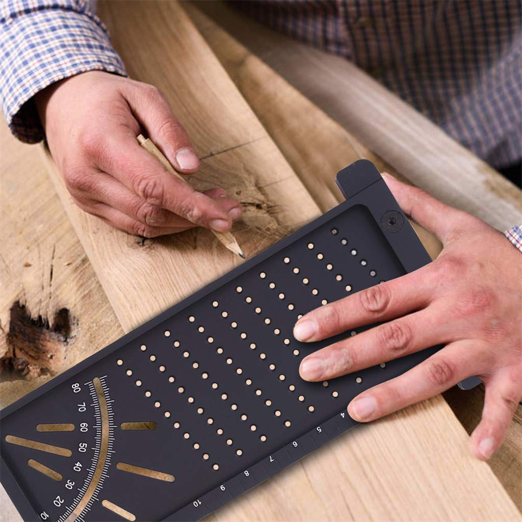 Aluminum Alloy Woodworking Scriber T Ruler Multifunctional 45//90 Degree Angle Ruler D