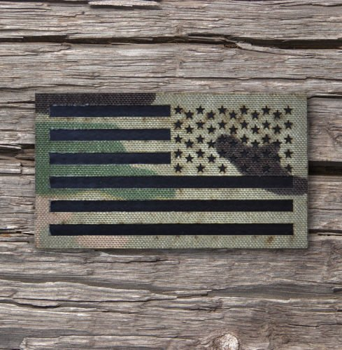 Reversed 3.5x2 Inch Infrared Multicam (OCP) Ir Us Flag Patch Us Army Special Forces