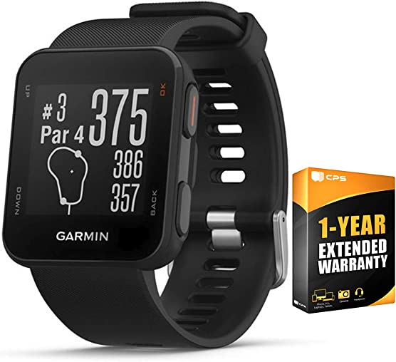 Garmin Approach S10 Lightweight GPS Golf Watch, Black – 010-02028-00 w 1 Year Extended Warranty