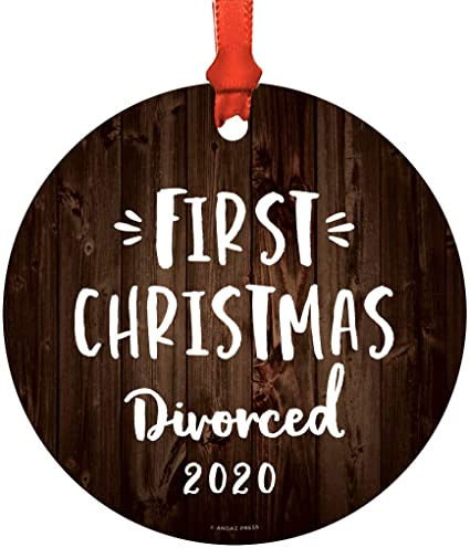 Amazon Com Andaz Press Custom Year Round Mdf Natural Wood Christmas Tree Ornament Funny Divorce Gift First Christmas Divorced 2020 1 Pack Divorced Friend Gift Ideas Kitchen Dining