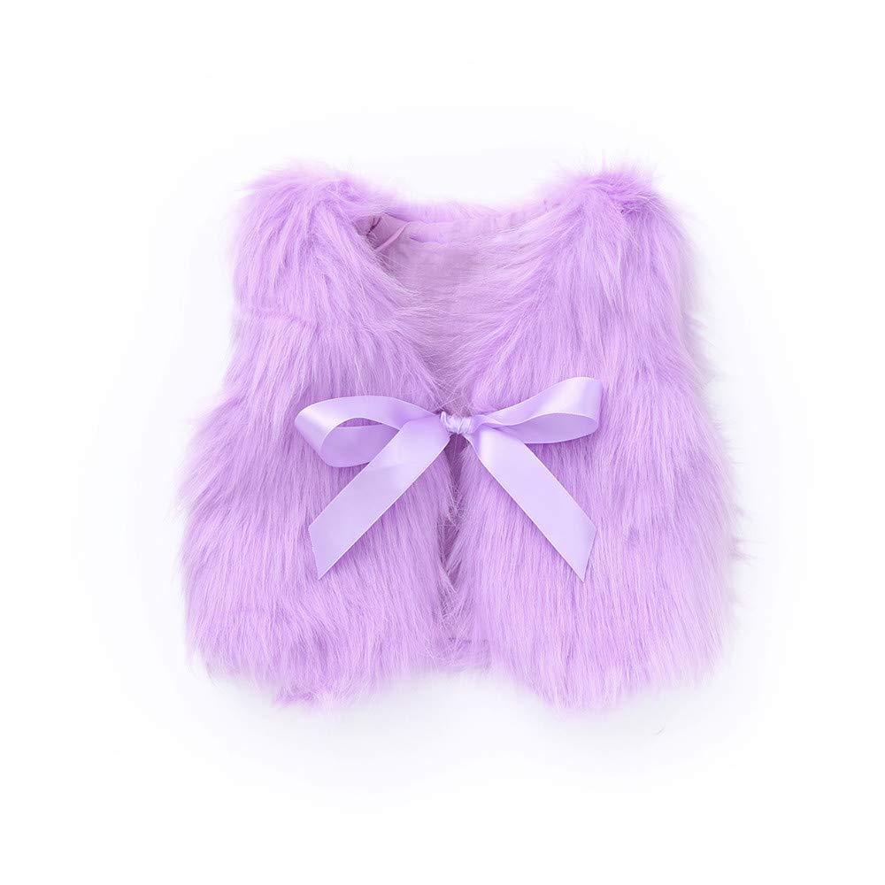 Zariavo Baby Outwear, Mä dchen Kunstpelz Bowknot Band Weste dick Outwear Kleinkind Kinderkleidung