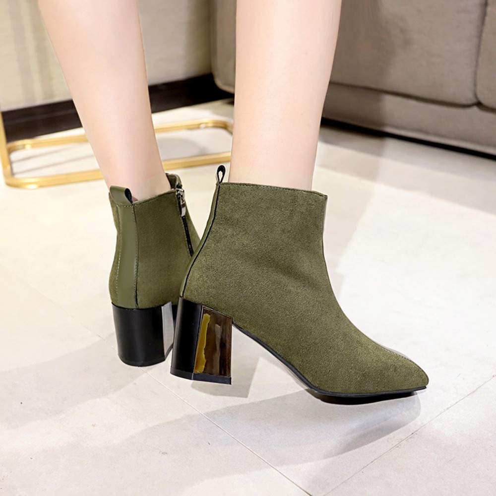 AgrinTol Women High Heels Boots Wedding Bride Shoes Lady Dress Ankle Booties Thick Heel Wedges Shoes