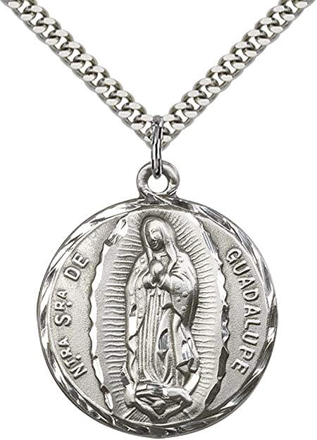 Sterling Silver Our Lady of Guadalupe Heart Pendant with 18 Stainless Steel Lite Curb Chain Patron Saint of Central America