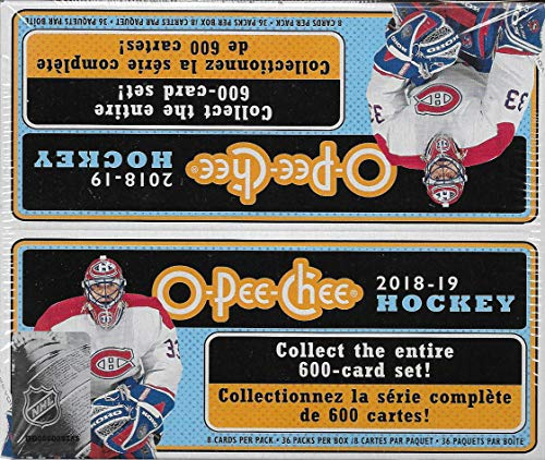 2019 Upper Deck Star - 2018 2019 Upper Deck O Pee Chee Hockey Series Factory Sealed HUGE Unopened Box of 36 Packs 288 Cards Total with a Chance for Short Printed Rookies, Stars, Mini Parallels, Retro Variations Plus