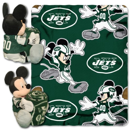 The Northwest Company NFL York Jets Mickey Mouse Pillow with Fleece Throw Blanket Set