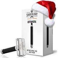 SHAVEOLOGY Butterfly Safety Razor Kit for Men + 5 Platinum Double Edge Razor Blades + Leather Blade Guard + Polishing Towel - Great Gift for Men
