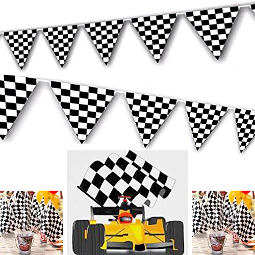 Adorox 100ft Checkered Black and White Flags Racing Kids Party (Checkered Flag Racing)