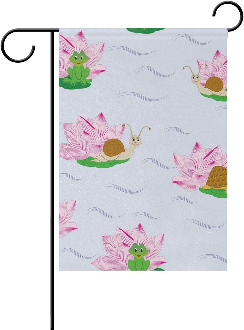 REFFW Home Banner Sweet Garden Flag Lotus Flower Snail Frog Turtle Animal Gardening for Outdoor Lawn Decor Double Sided