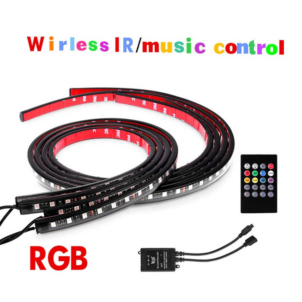 Auto LED Musik Licht, Wireless IR Fernbedienung & Music Control, 4  wasserdicht DC 12  V Multicolor Car Chassis Light LED fü r Heimwerker Weihnachten Home Kitchen Auto Bar Party Innen (insgesamt 198  LED) HIMM