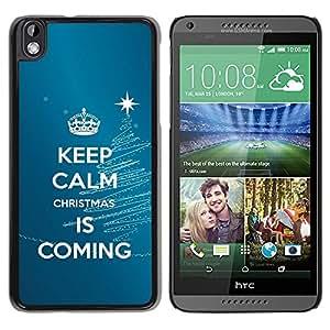 Paccase / SLIM PC / Aliminium Casa Carcasa Funda Case Cover para - Calm Keep Coming Blue Christmas Blue - HTC DESIRE 816