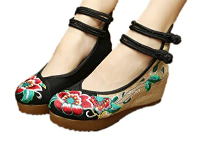 AvaCostume Women's Embroidery Floral Strappy Round Toe Platform Wedges  Cheongsam 34 Black