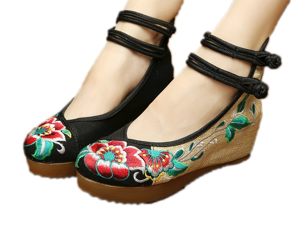 AvaCostume Women's Embroidery Floral Strappy Round Toe Platform Wedges Cheongsam 36 Black