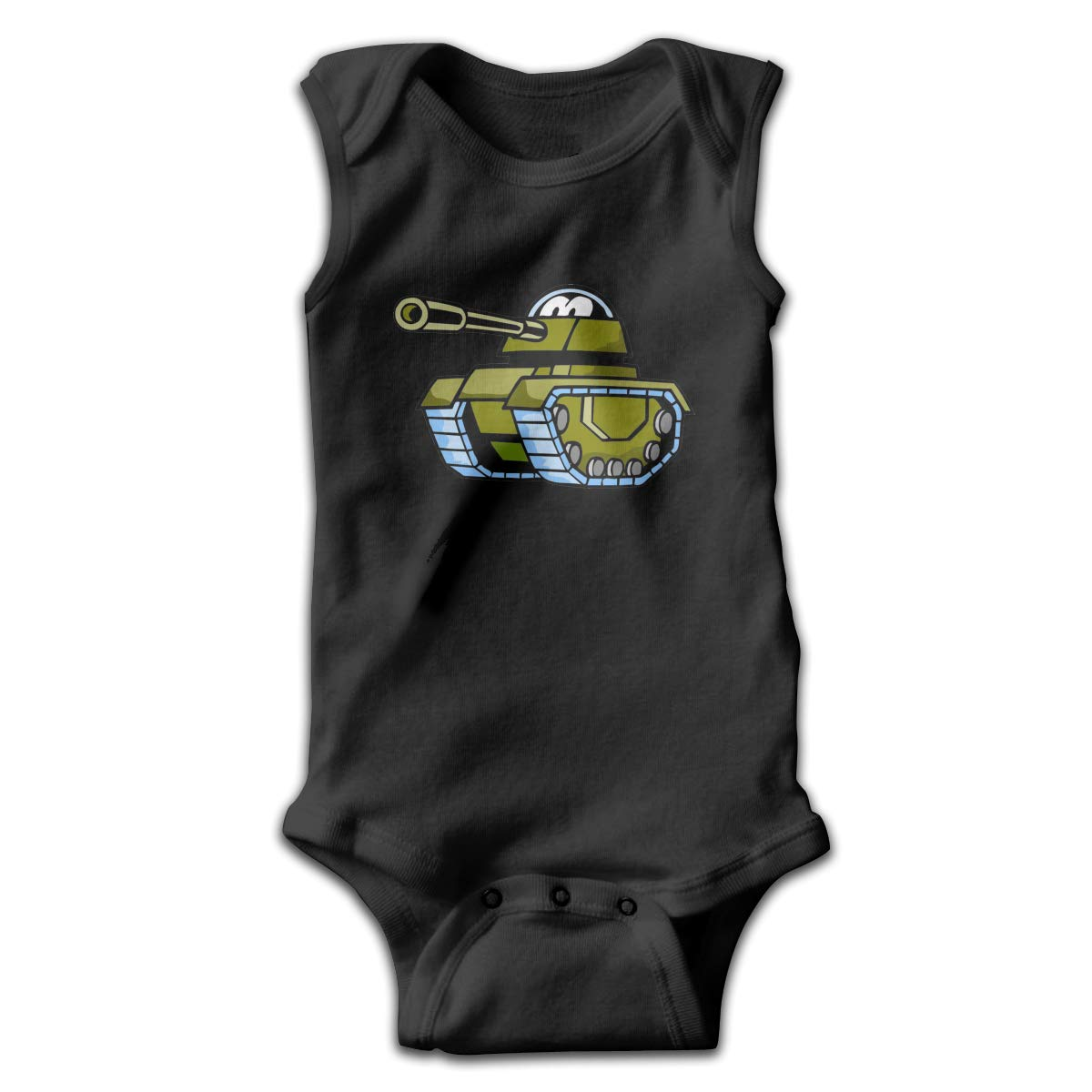 Dunpaiaa Cartoon Tank Newborn Crawling Suit Sleeveless Romper Bodysuit Onesies Jumpsuit Black