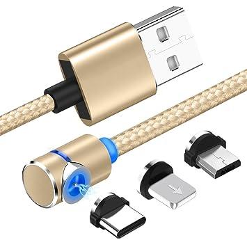 forepin 3 en 1 Cable Magnético Cable Magnética de Carga con Imán Magnético para Cargador Micro USB Carga Rápida para iPhone y Android (Oro)
