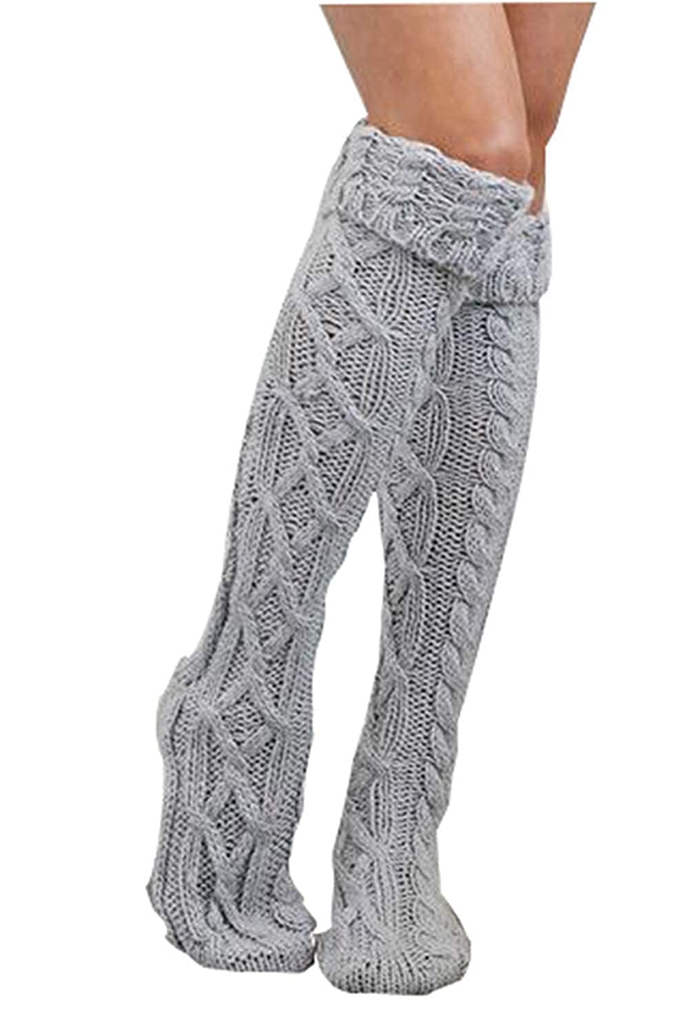 Womens Cable Knit Long Boot Stocking Winter Warmers Socks
