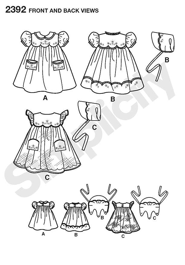 Simplicity 2392 - Patrón de costura para ropa de bebé (todas las tallas): Amazon.es: Hogar