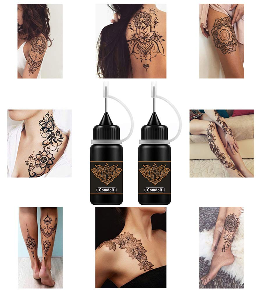 Stickta Kit Of 12 Different Stencils Temporary Hair Tattoo Design.Professional Long Lasting Tattoos On Your Hair The First Hair Tattoo In The World