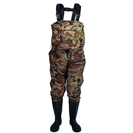 PELLOR. Fishing Hunting Neoprene Chest Waders Camo Hunting Bootfoot with Waterproof Nylon PVC Cleated Wading Boots