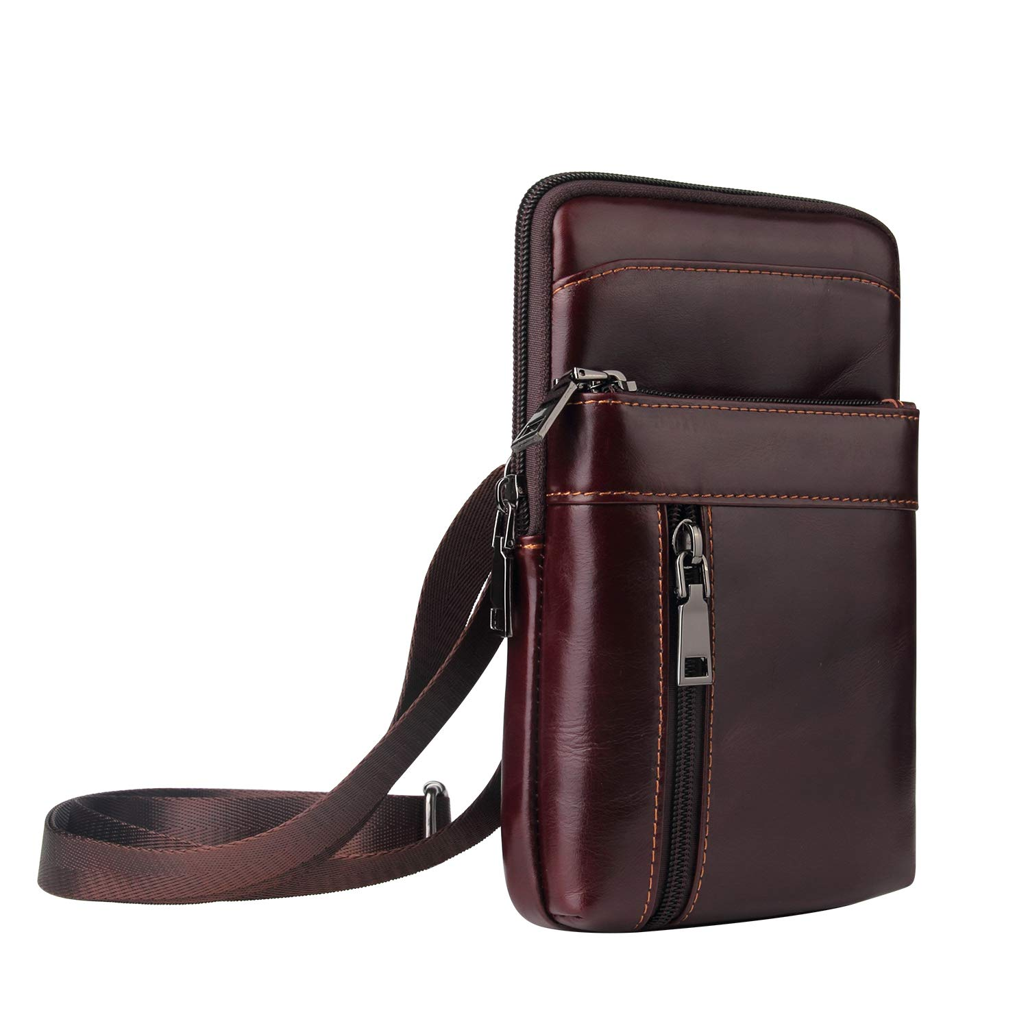 Genuine Leather Crossbody Purse Cell Phone Travel Bag Belt Holster Wallet Case for iPhone 11 Pro Max/XS Max XR, Galaxy Note 10 Plus Note 9/8 A70, LG V40 ThinQ V20 V10, Blu R2 Plus Vivo XL4