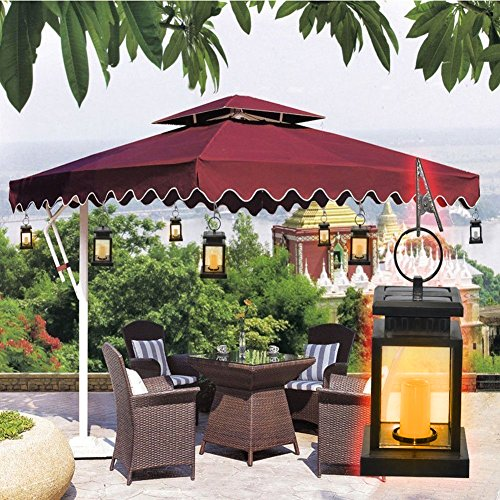 Kyson Solar Power Vintage Latern Candle Twinkle Effect 2 LEDs Outdoor waterproof Hanging Umbrella Garden Pathway Stairs wall Led Lamp Light Pack of 4 by Kyson (Image #5)