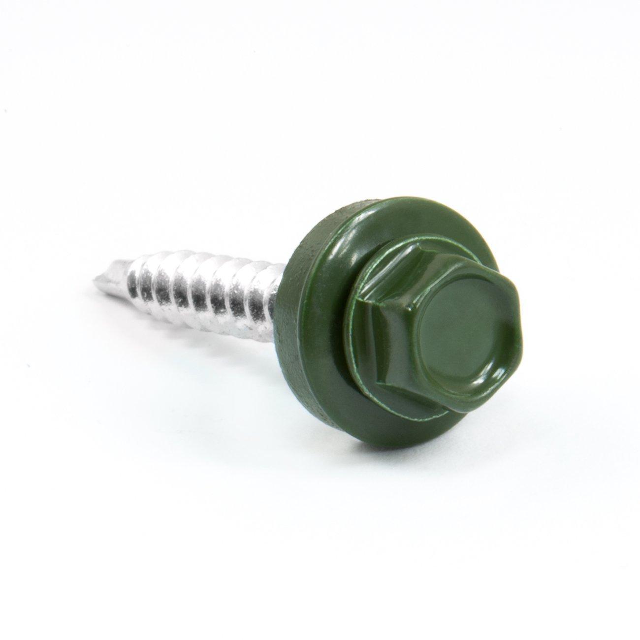 4, 8 x 55 mm cabeza hexagonal para tejado para madera sujetador brillante metal tornillo de color verde DQ-PP