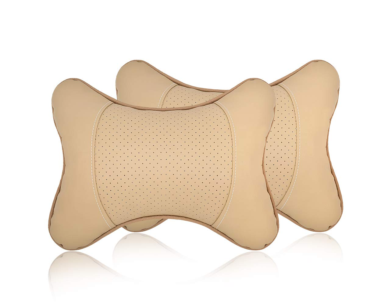 SCSpecial 2 Pieces Car Headrest Cushion PU Leather Neck Pillow for Car Seat Headrest Cushion 28x18cm Car Neck Cushion (Beige)