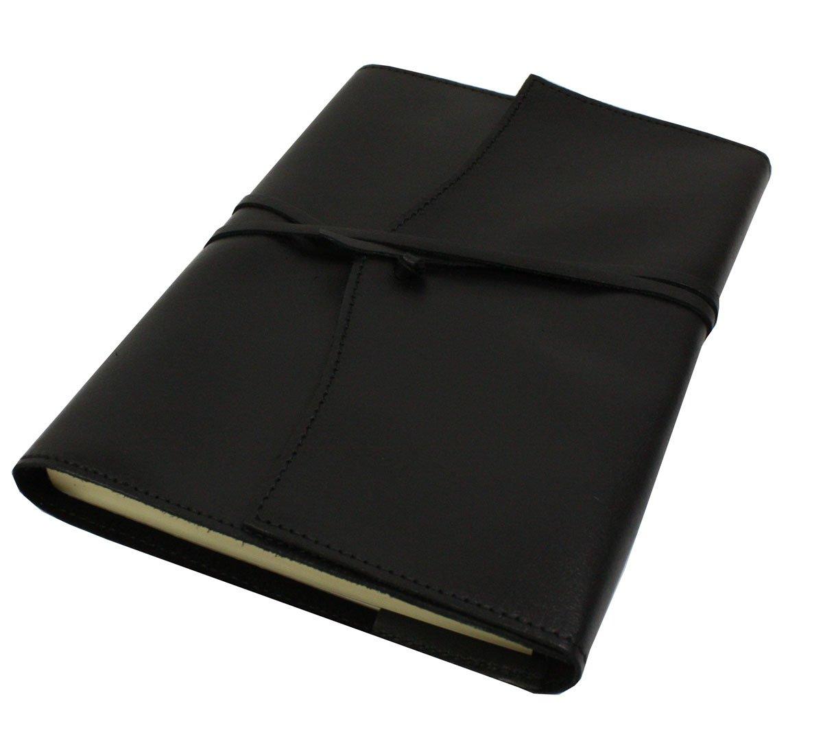 Papuro Milano詰め替え可能ハンドメイドイタリアブラックレザーアドレス帳 – 15 x 21 cm   B008YU8LZ4