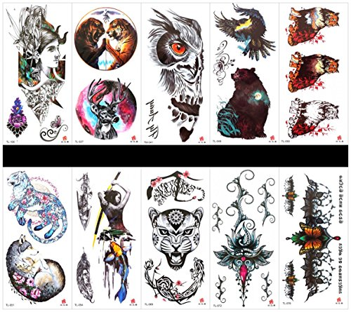 Grashine 10pcs tattoo animal tiger fake tattoos that look real in a packages,including bear,wolf,fish,leopard,women,tiger,deer,flowers,butterflies,etc. -