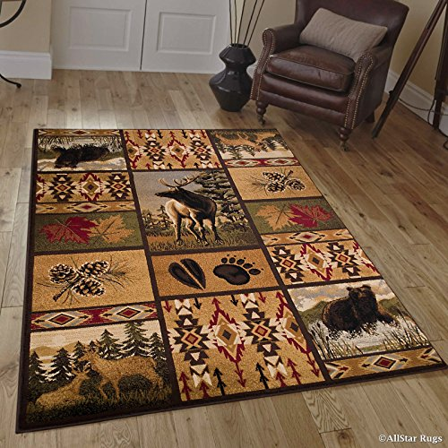Allstar 5 X 7 Brown with Burgundy Rustic Lodge Assorted Collection Area Rug (5′ 2″ X 7′ 1″) For Sale