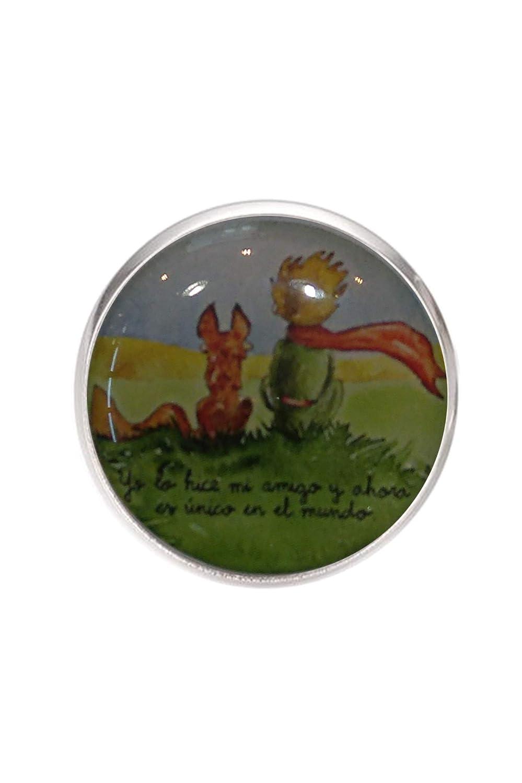 Anneau en acier inoxydable, réglable, plateau 20 mm, fait à la main, illustration Le Petit Prince 2