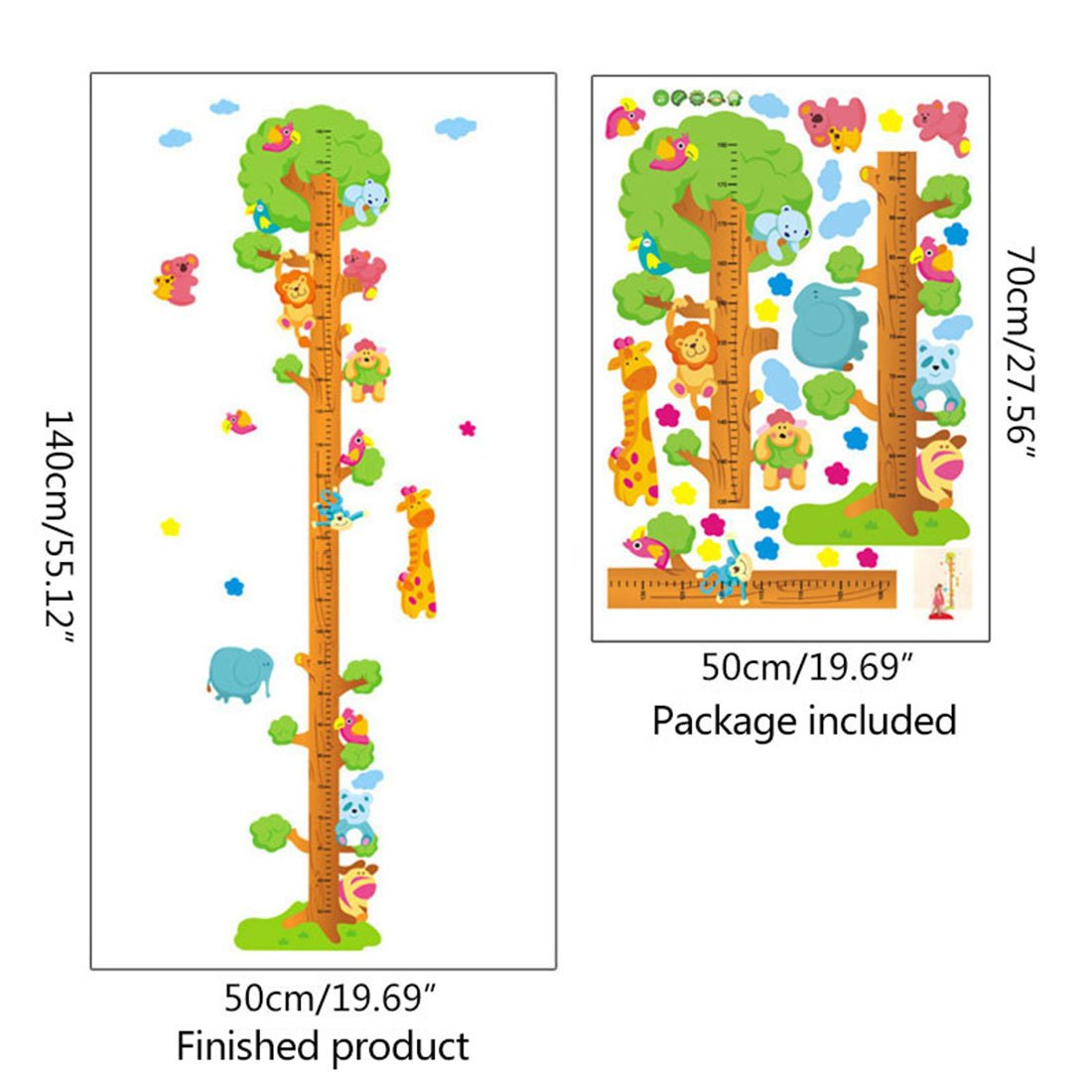 Freahap Tabla de Crecimiento de Medidor de Altura para Pared PVC Decorativo Pared con Koala bear Para Ni/ño