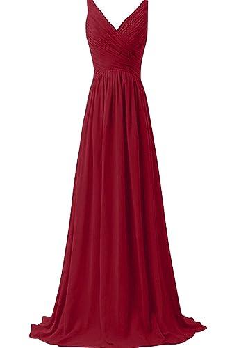 Chic Bride Long V Neck High Waist Bridesmaid Dress Long Evening Gowns Chiffon