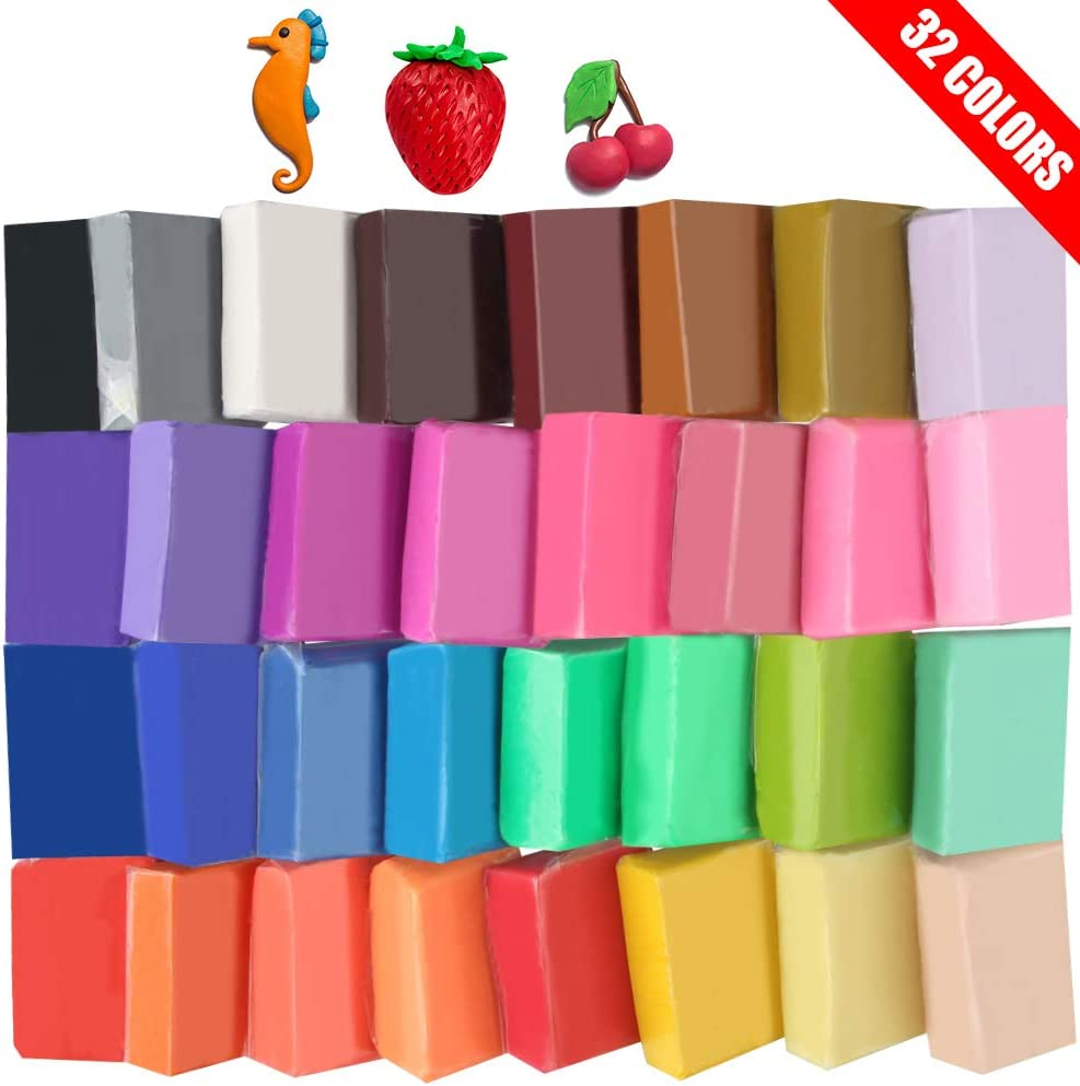 Super Valuable 32 Colors Small Block Polymer Clay Set Oven Bake Clay, Tomorotec CPSC Conformed Non-Toxic Moleding DIY Clay Oven Baking Clay for Kids, Artists (Softer)