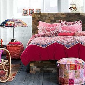 LELVA Moroccan Bedding, Bohemian Ethnic Style Bedding, Boho Duvet Cover Set, Boho Bedding, Full Queen (Queen)