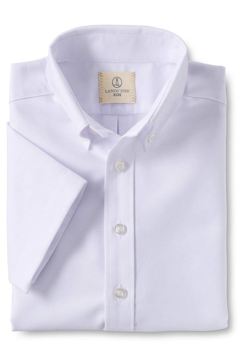 Lands' End School Uniform Boys Short Sleeve Oxford Dress Shirt White