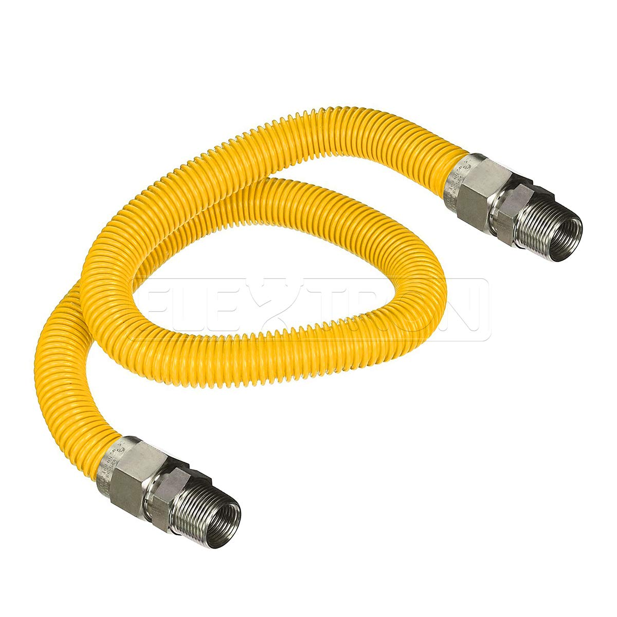Flextron FTGC-YC38-36A 36 Inch Flexible Epoxy Coated Gas Dryer Connector with 1/2 Inch Outer Diameter & 1/2 Inch MIP x 1/2 Inch MIP Fitting, Yellow/Stainless Steel, Excellent Corrosion Resistance