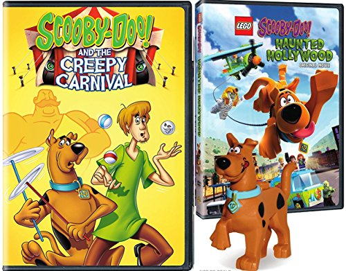 Lego Scooby: Haunted Hollywood DVD & The Creepy Carnival Scooby-Doo Lego Figure Bundle Mystery Inc. set Double Feature -