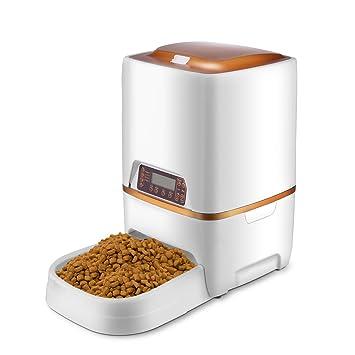 Pujuas dispensador automático de Comida dispensador de Comida Fiambrera grabación 4 Comida para Gatos y Perros 4L (6L): Amazon.es: Productos para mascotas