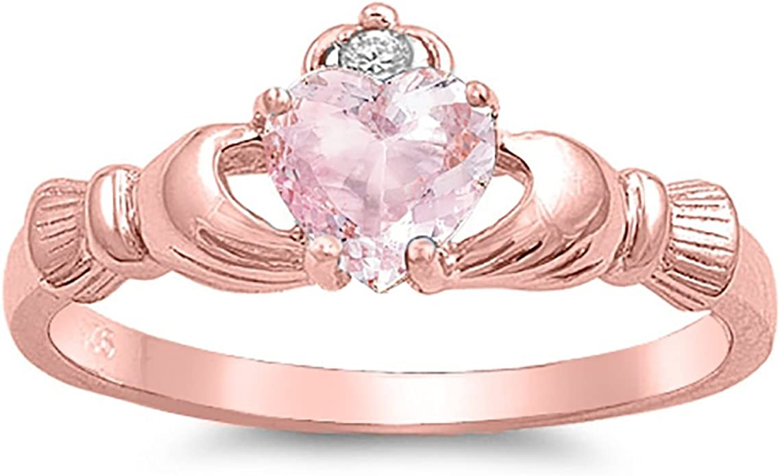 Claddagh Ring Sterling Silver 925 Pink Morganite /& Clear CZ Rose Gold Plated